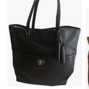 Coach legacy turnlock large leather tote black